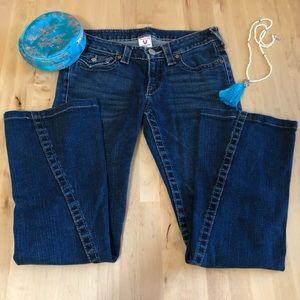 True Religion Joey Twisted Seam Flare Jeans Sz 28